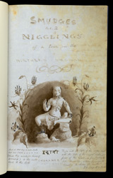 f.1   Title page decorated with drawing of Matanga, Cave 32, Ellora, surrounded with 'gloriosa superba' and quotation from Isaiah.